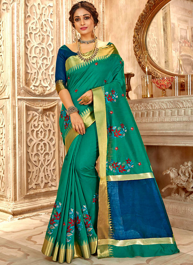 Green Cotton Silk Embroidered Classic Saree