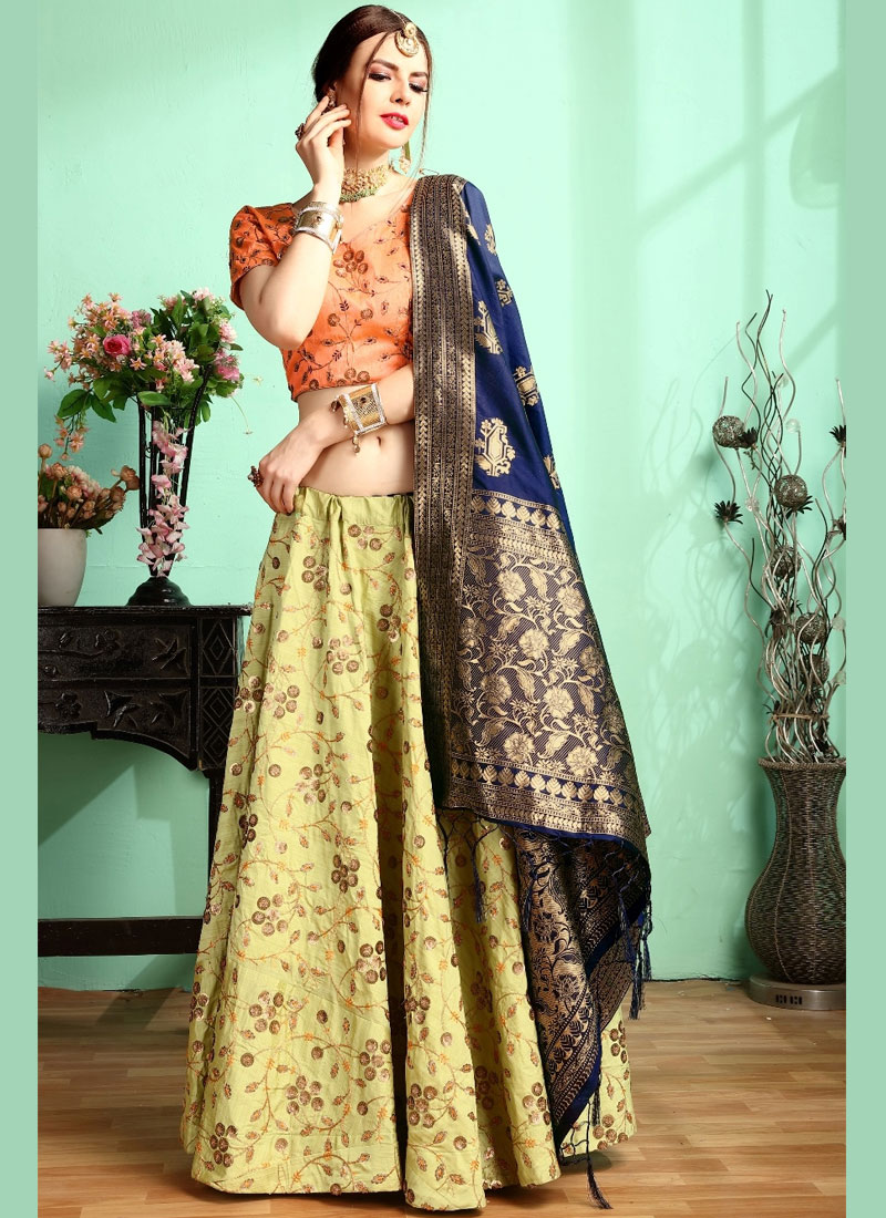 Green Embroidered Malbari Silk  Designer Lehenga Choli