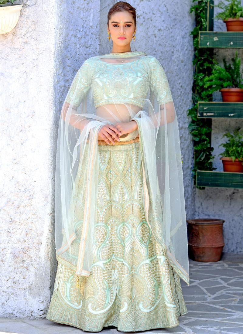 Green Embroidered Silk Designer Lehenga Choli