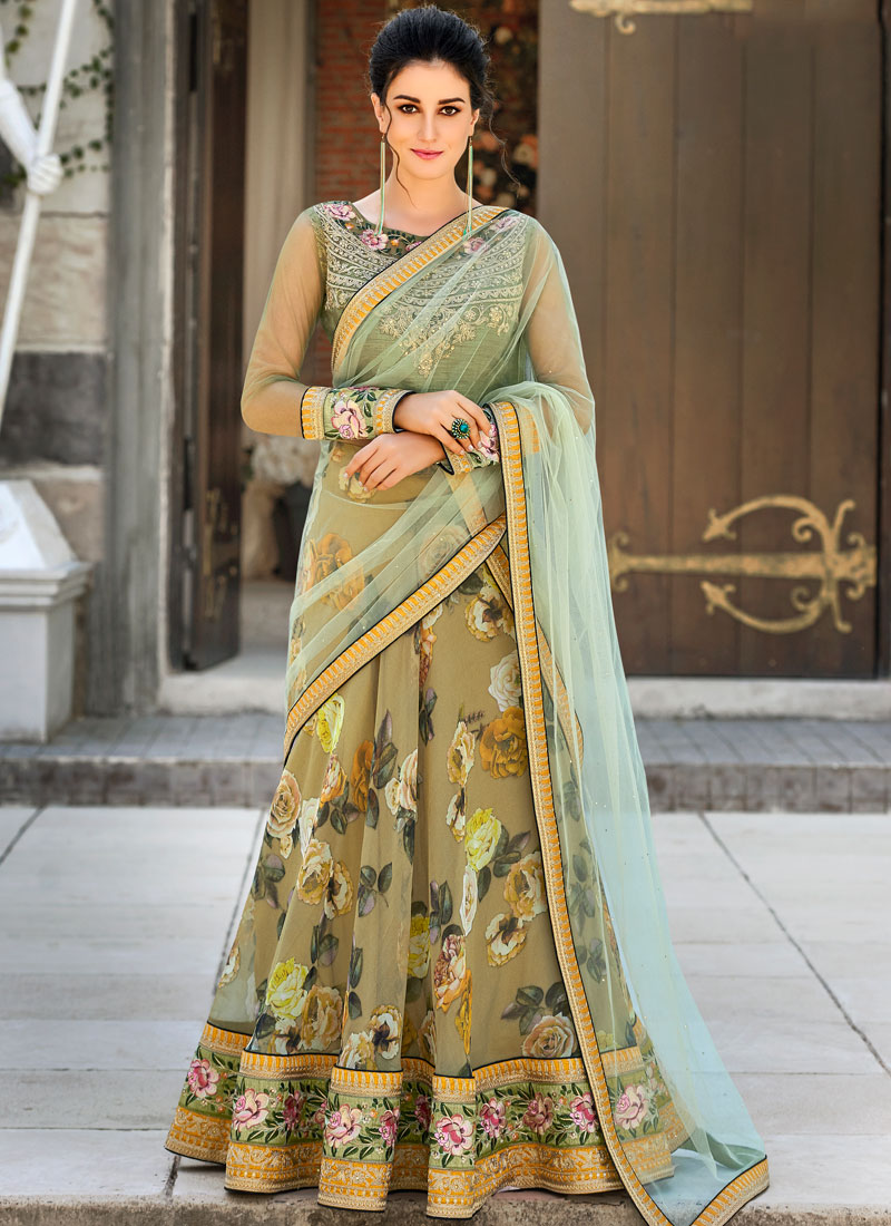Green Embroidered Wedding Lehenga Choli