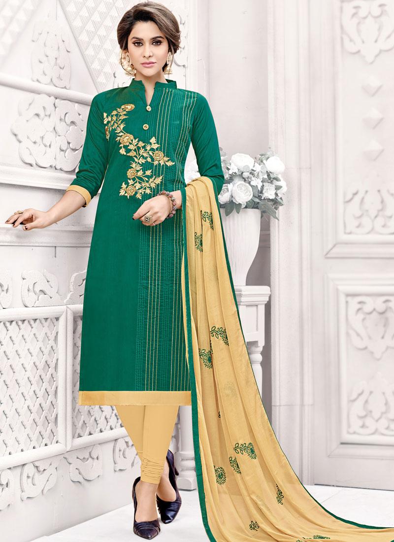 Green Fancy Fabric Casual Churidar Suit