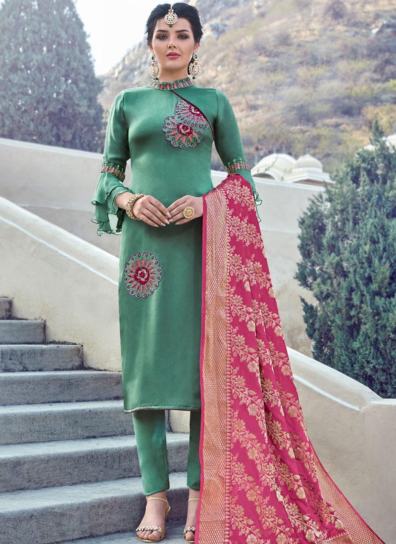 Green Festival Georgette Satin Straight Salwar Suit