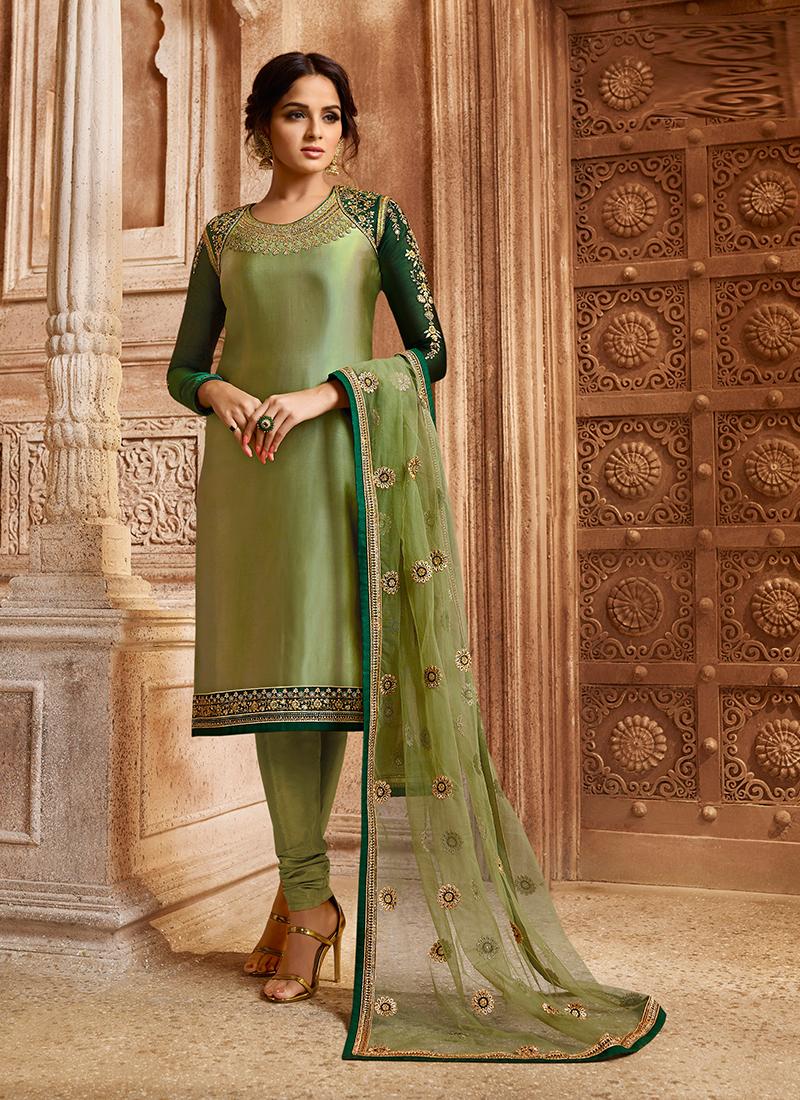 Green Georgette Satin Festival Designer Straight Suit