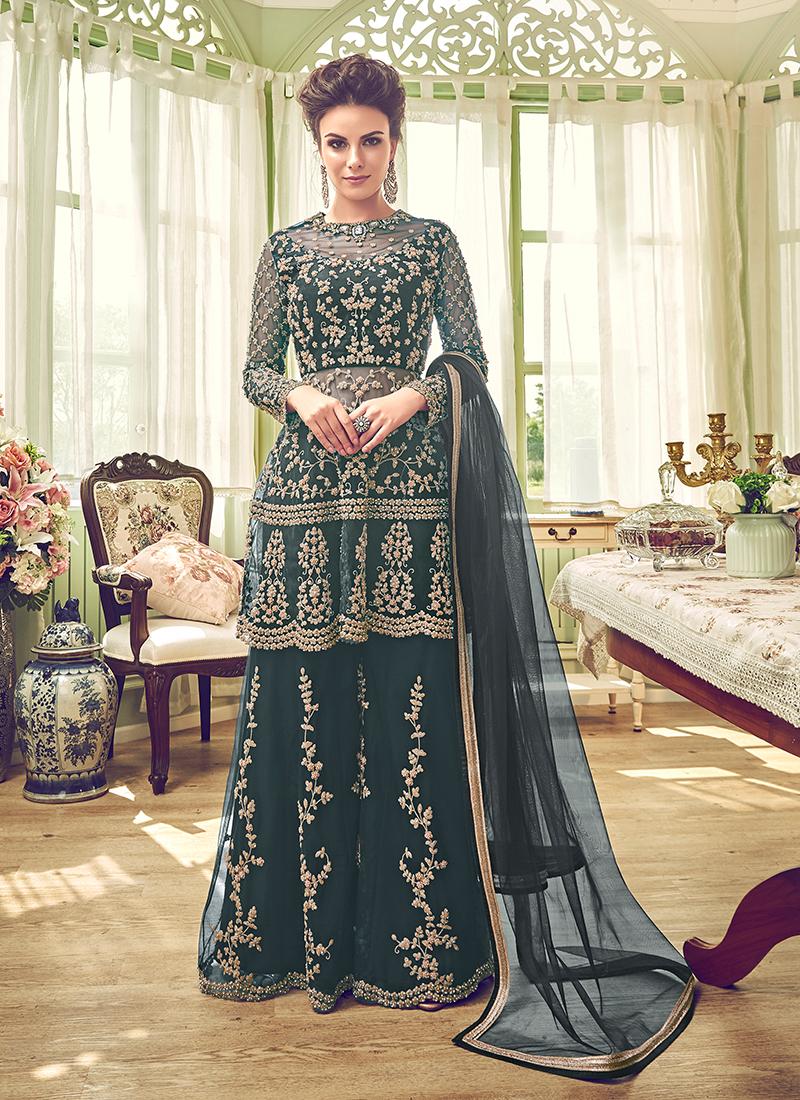 Green Net Designer Sharara Salwar Kameez
