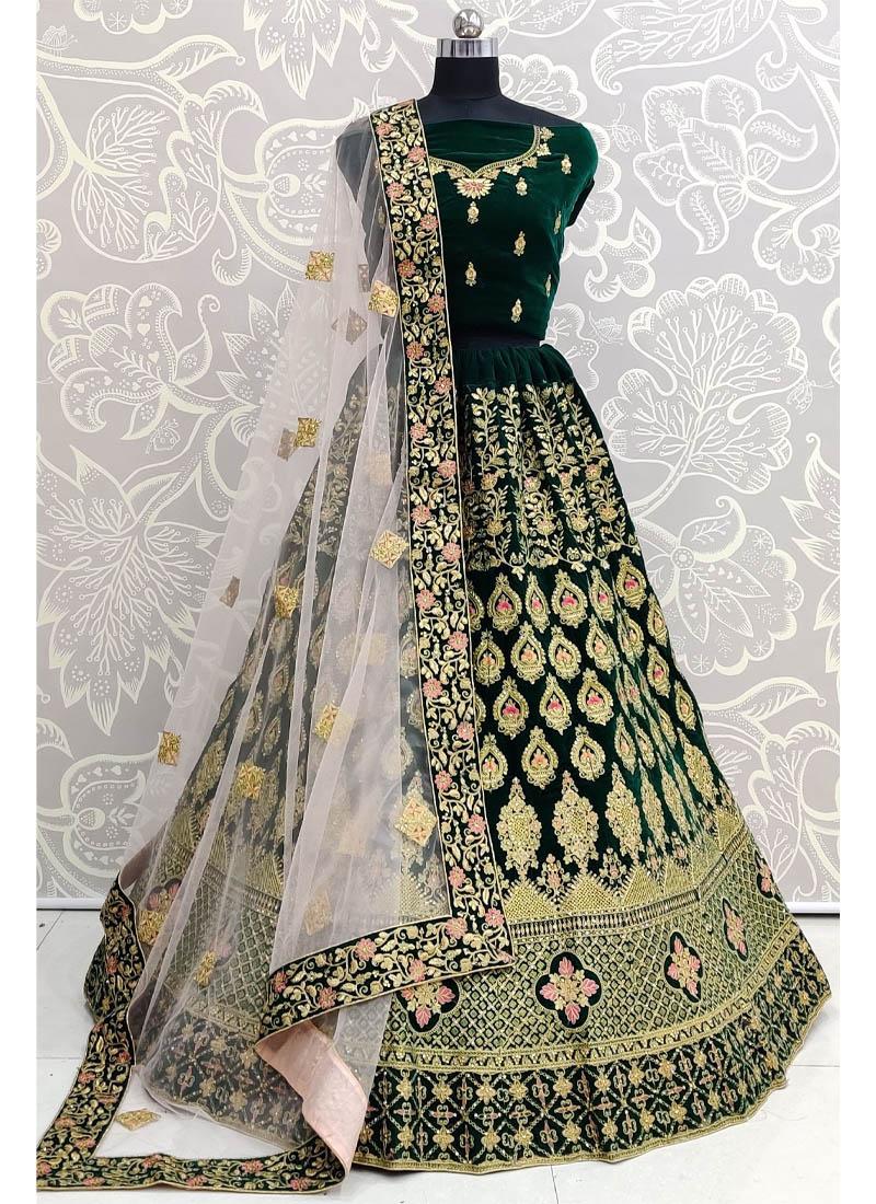 Green Velvet Heavy Embroidered Bridal Lehenga Choli with Dupatta