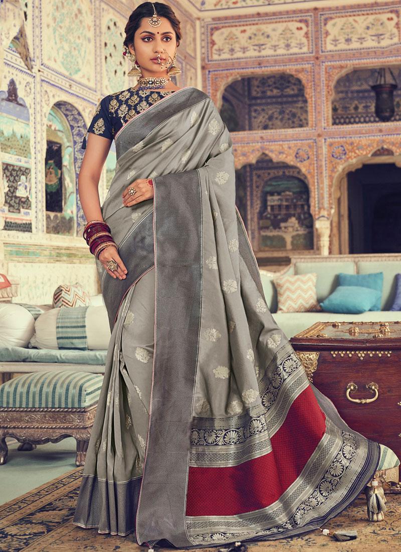 Grey Art Silk Bridal Traditional Designer Saree