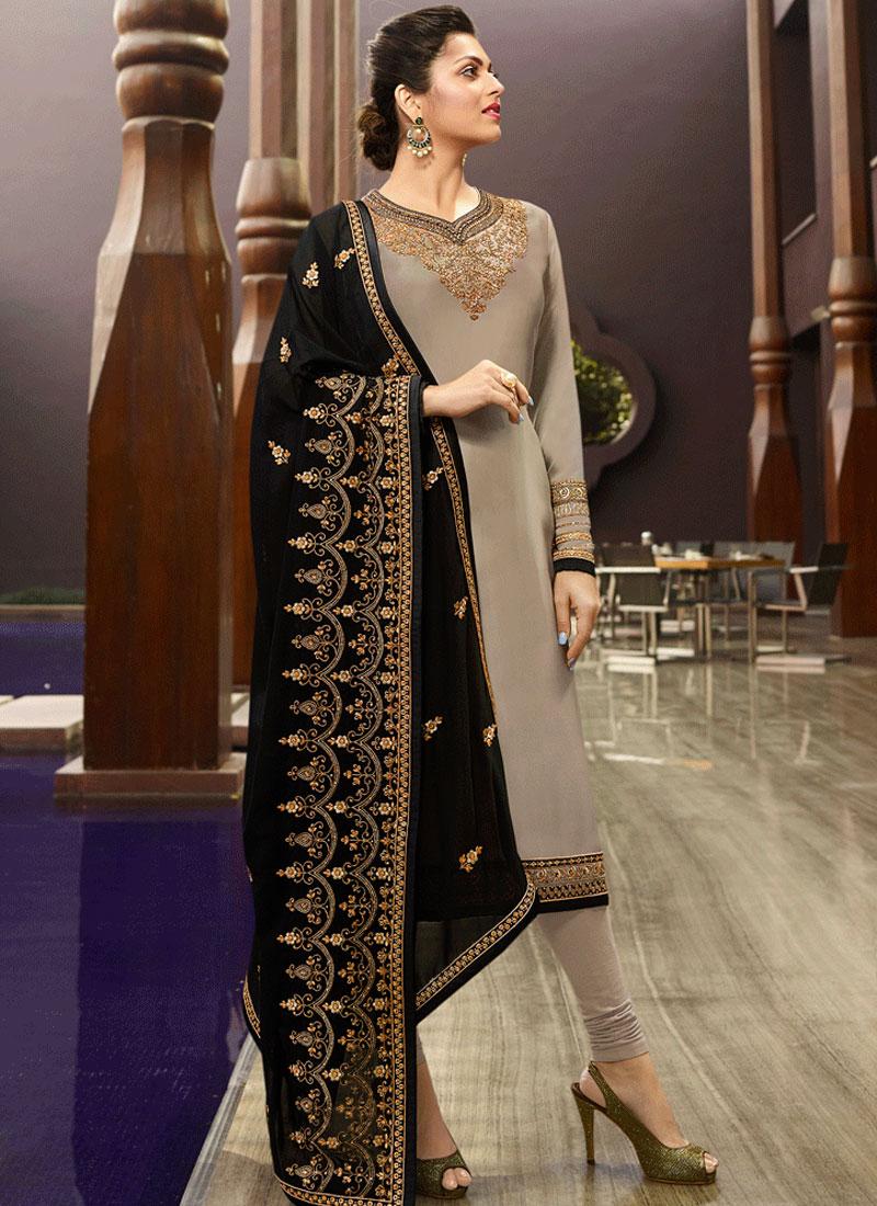 Grey Color Churidar Salwar Kameez