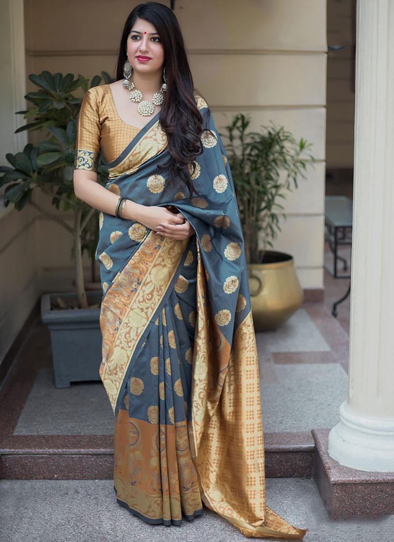 Grey Festival Art Silk Designer Traditional Saree