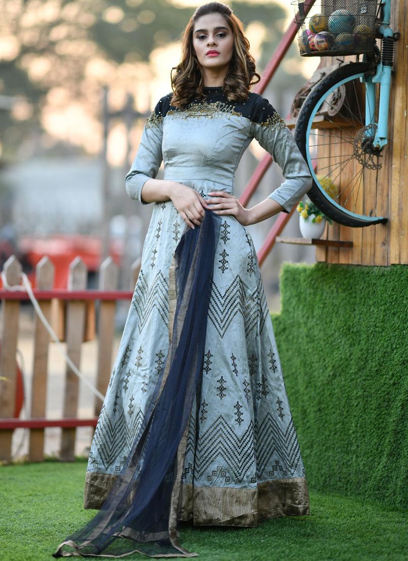 Grey Handwork Silk Trendy Gown