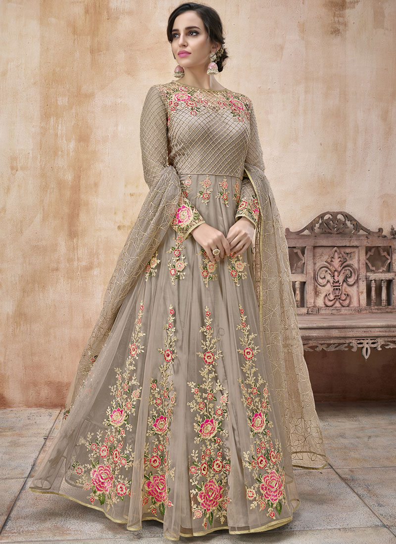 Grey Net Bridal Floor Length Anarkali Suit