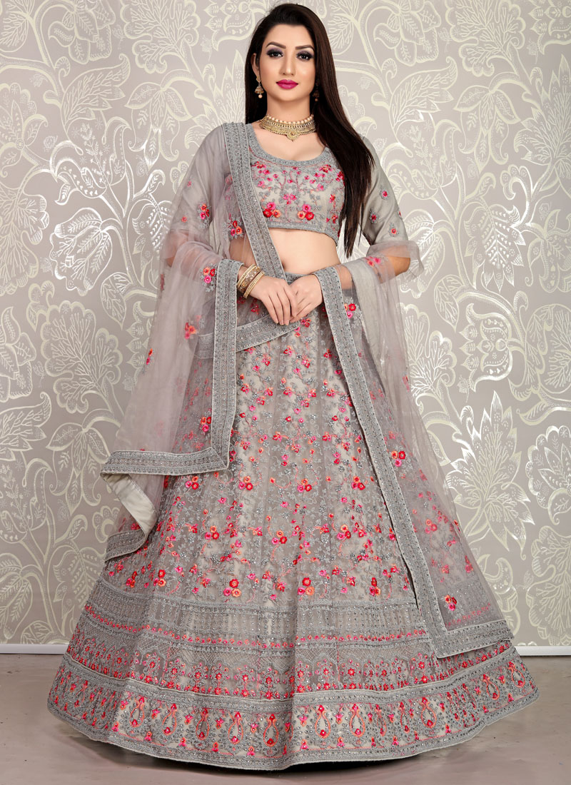 Grey Net girlish lehenga choli with dupatta