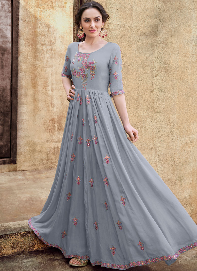 Grey Readymade Gown