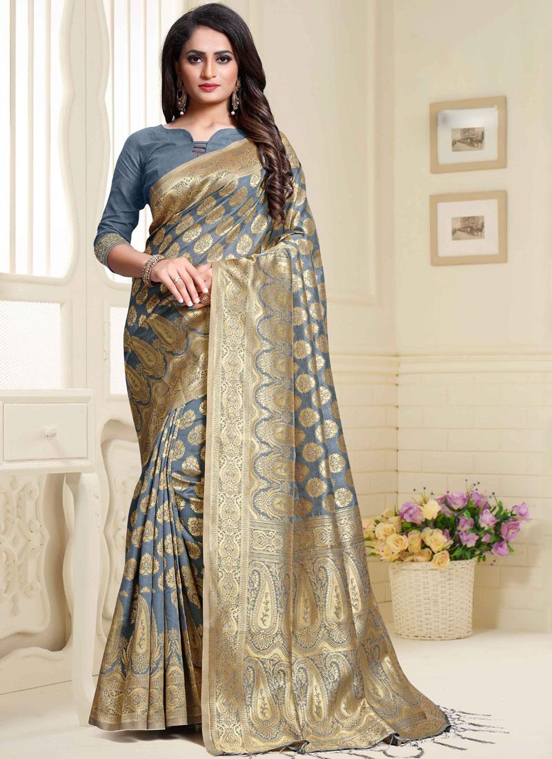 Grey Weaving Art Silk Traditional Designer Saree
