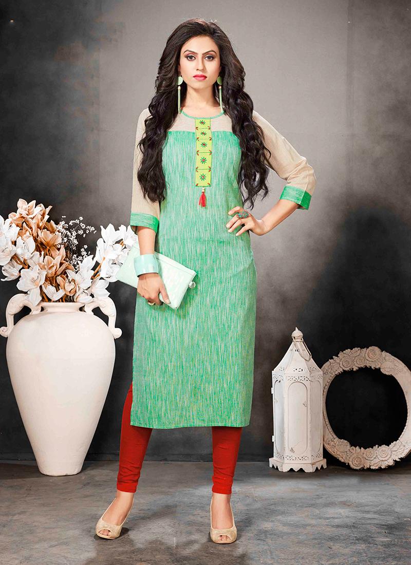 Groovy Fancy Green Khadi Party Wear Kurti