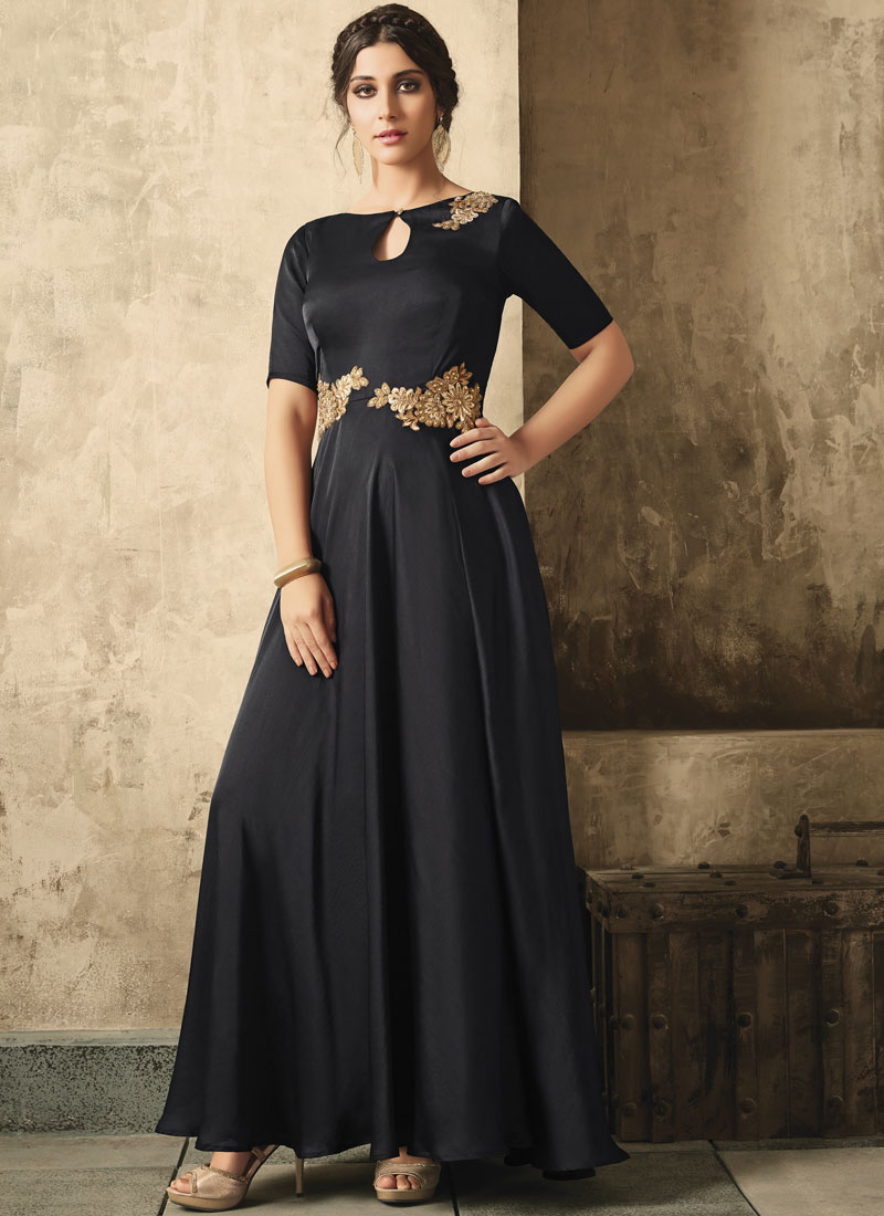 Groovy Stone Work Black Satin Designer Gown