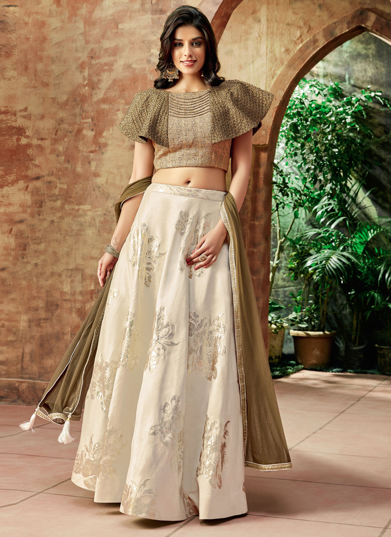 Haute Embroidered Jacquard Silk Lehenga Choli