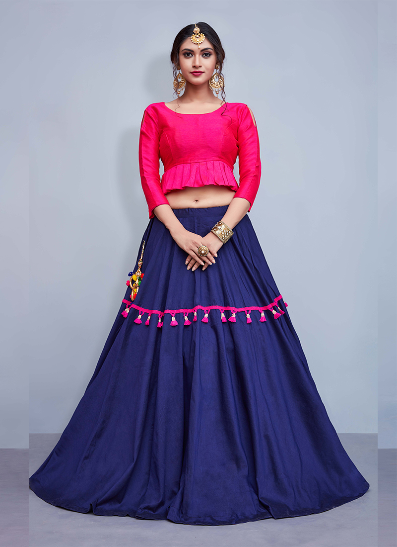 Heavenly Cotton   Blue and Pink Embroidered Readymade Lehenga Choli