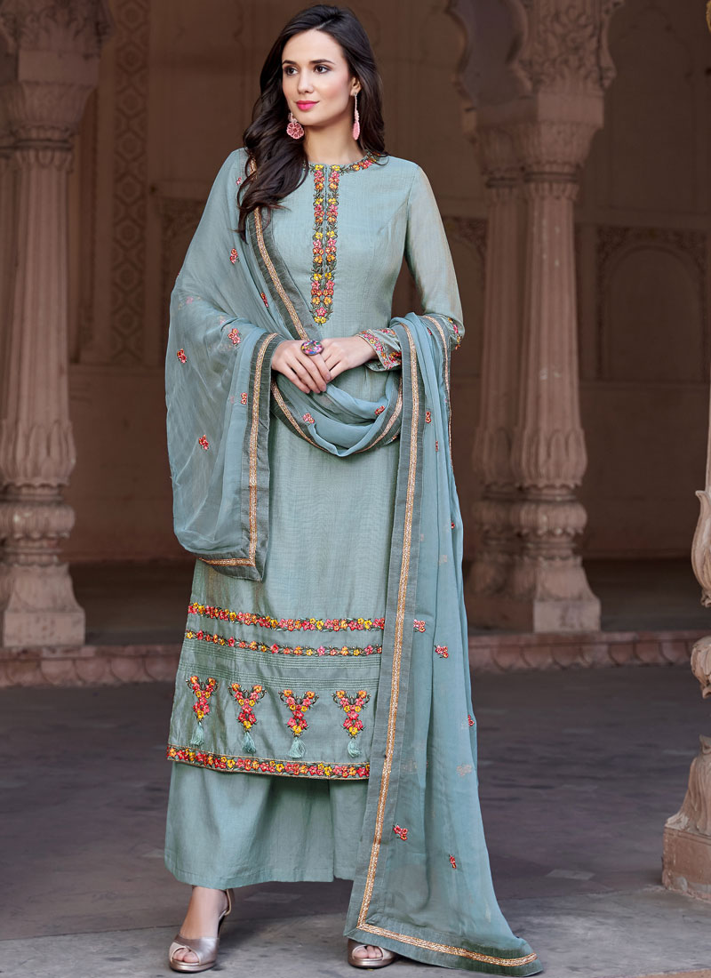 7ec8f71119 Heavenly Fancy Fabric Embroidered Blue Designer Pakistani Suit. Hover to  zoom