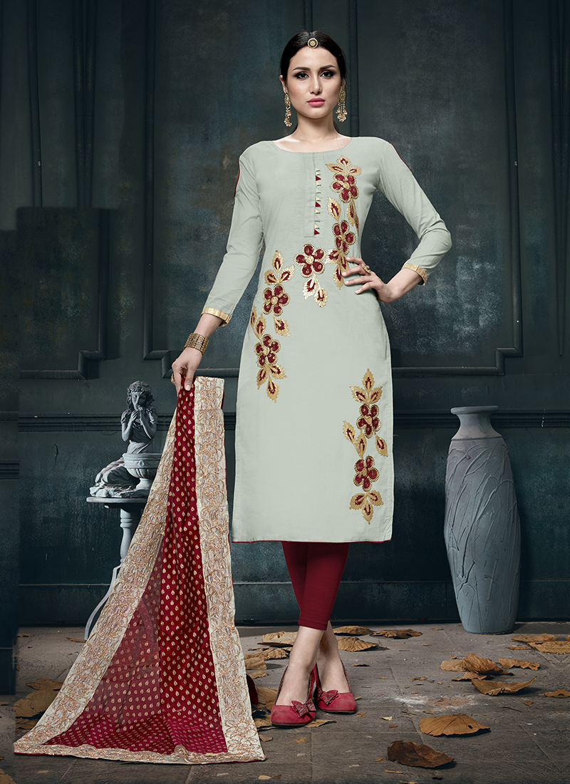 2e95c3a3f8 Heavenly Print Grey Designer Straight Suit. Hover to zoom
