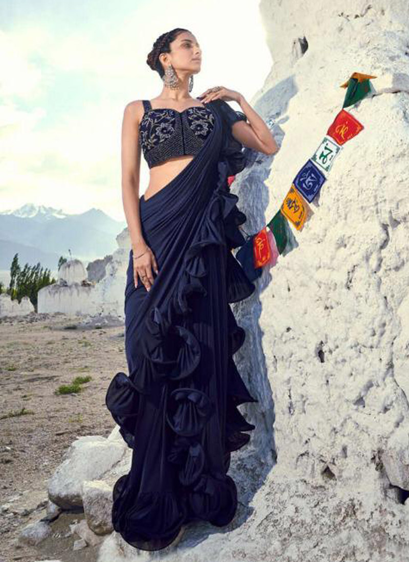 Honourable Embroidered Navy Blue Traditional Saree