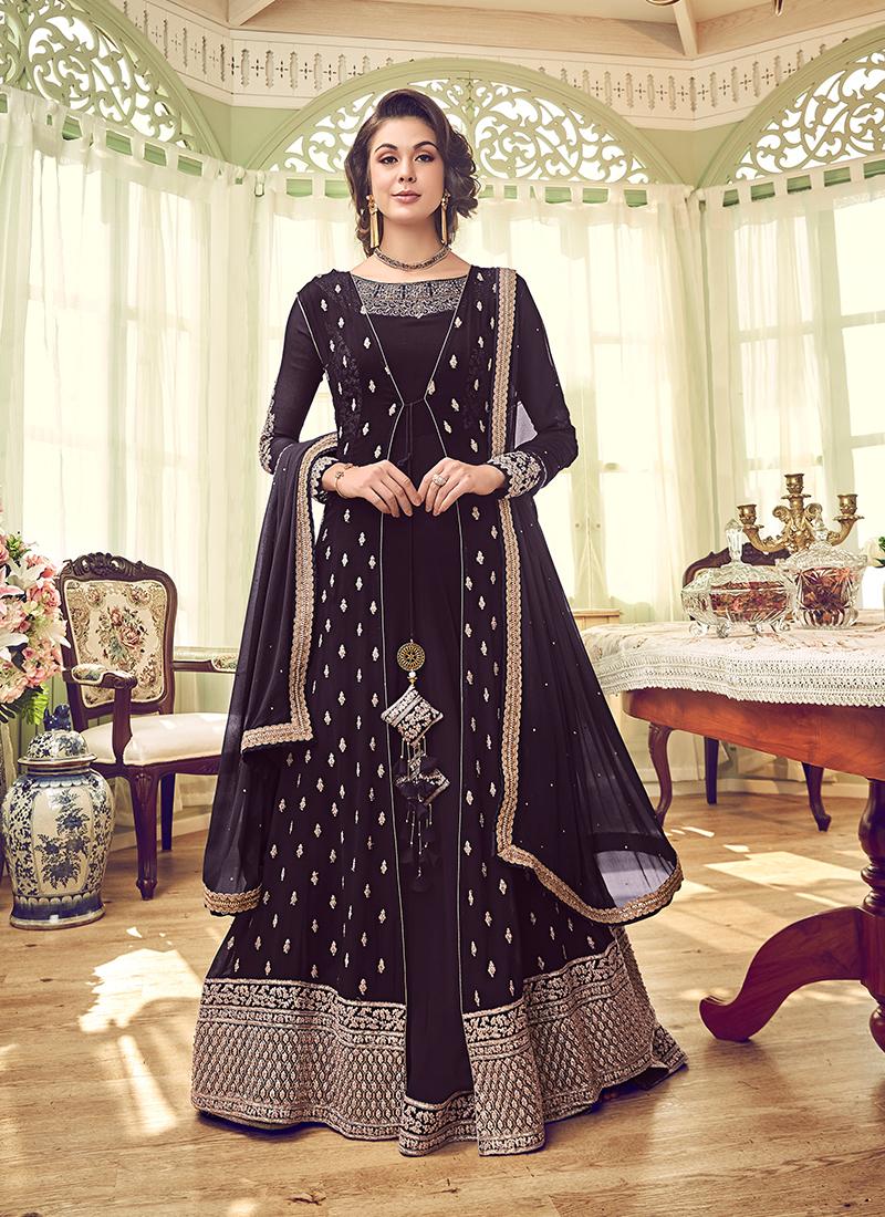 Georgette Wine Embroidered Designer Palistani Salwar Kameez