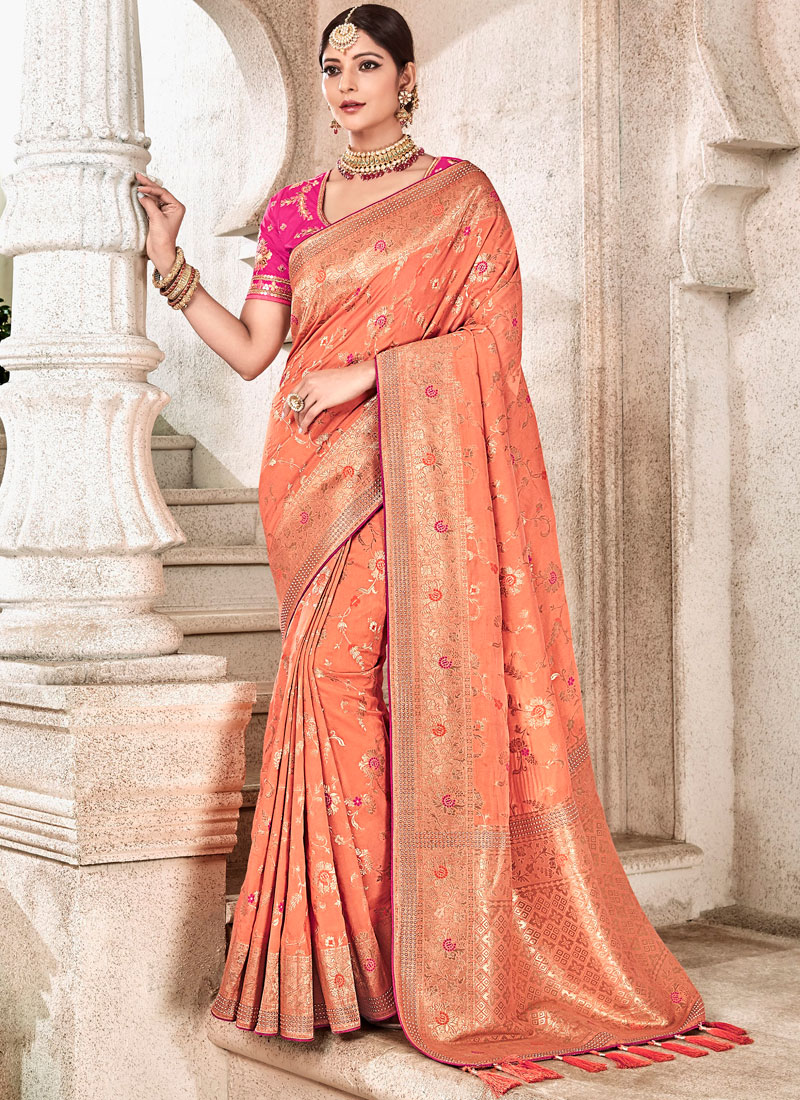 Honourable Peach Art Silk Traditional Designer Saree