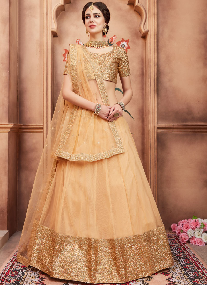 Honourable Sequins Net Beige Lehenga Choli