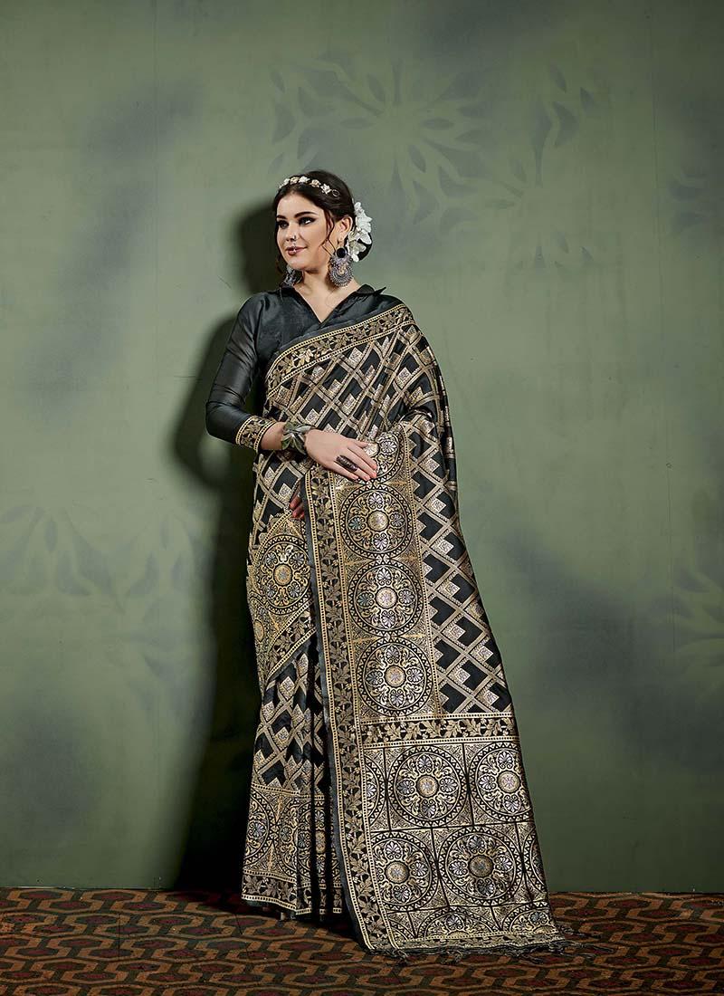 Honourable Weaving Black Designer Saree