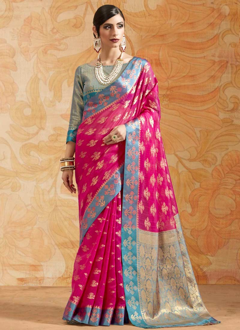 Hot Pink Abstract Print Trendy Saree