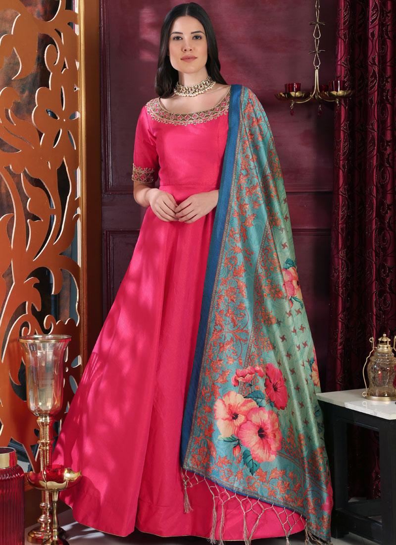 Hot Pink Art Silk Embroidered Designer Gown