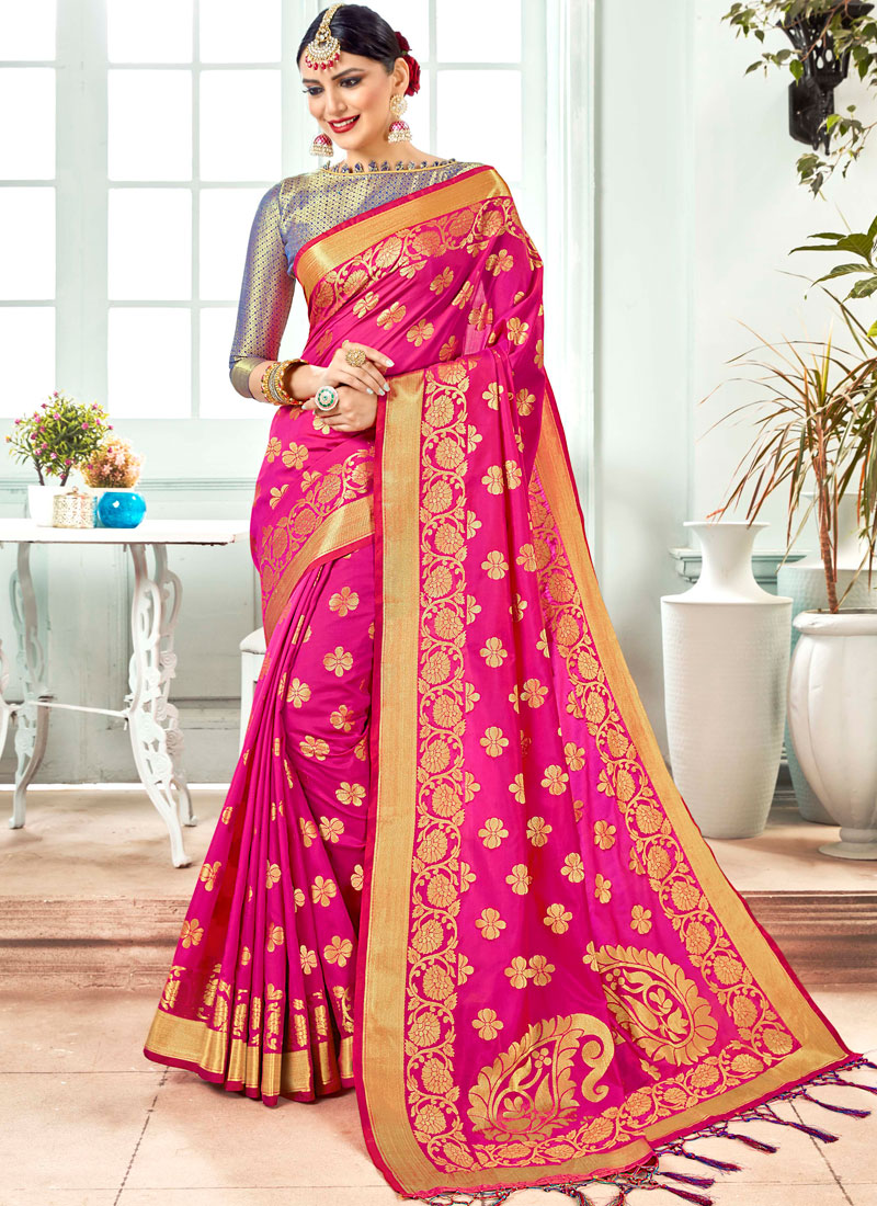 Hot Pink Art Silk Weaving Designer Traditional Saree