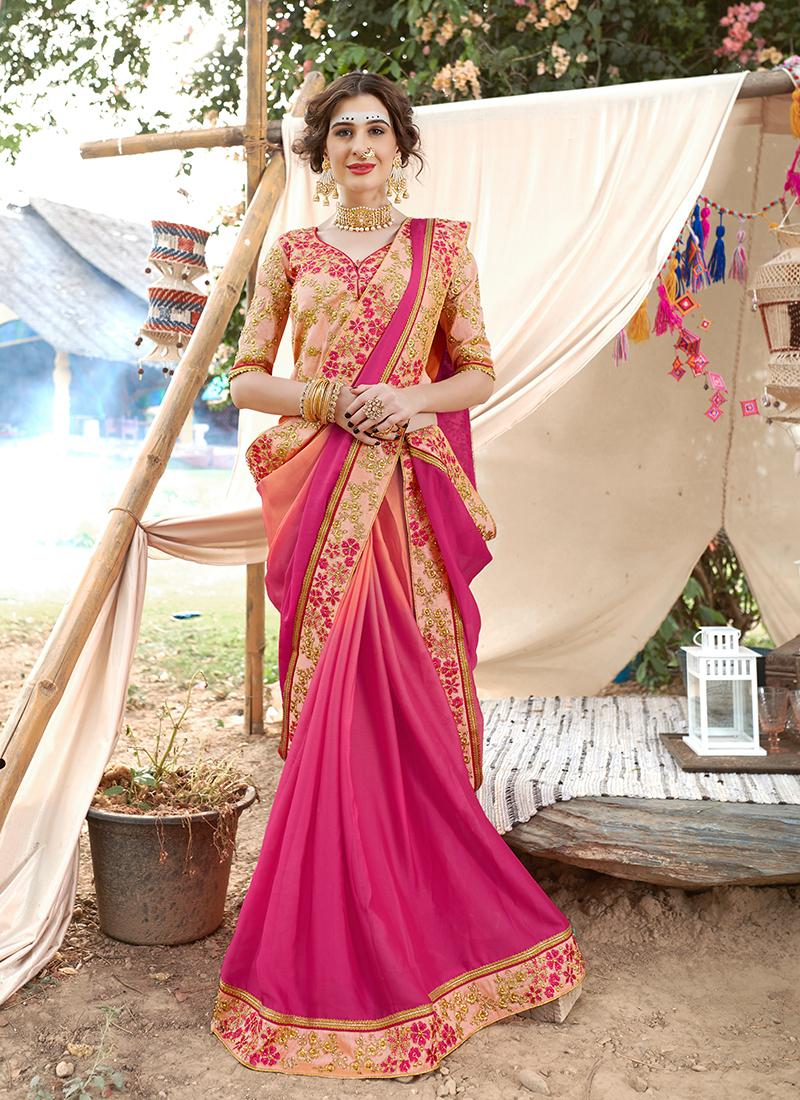 Hot Pink Color Saree