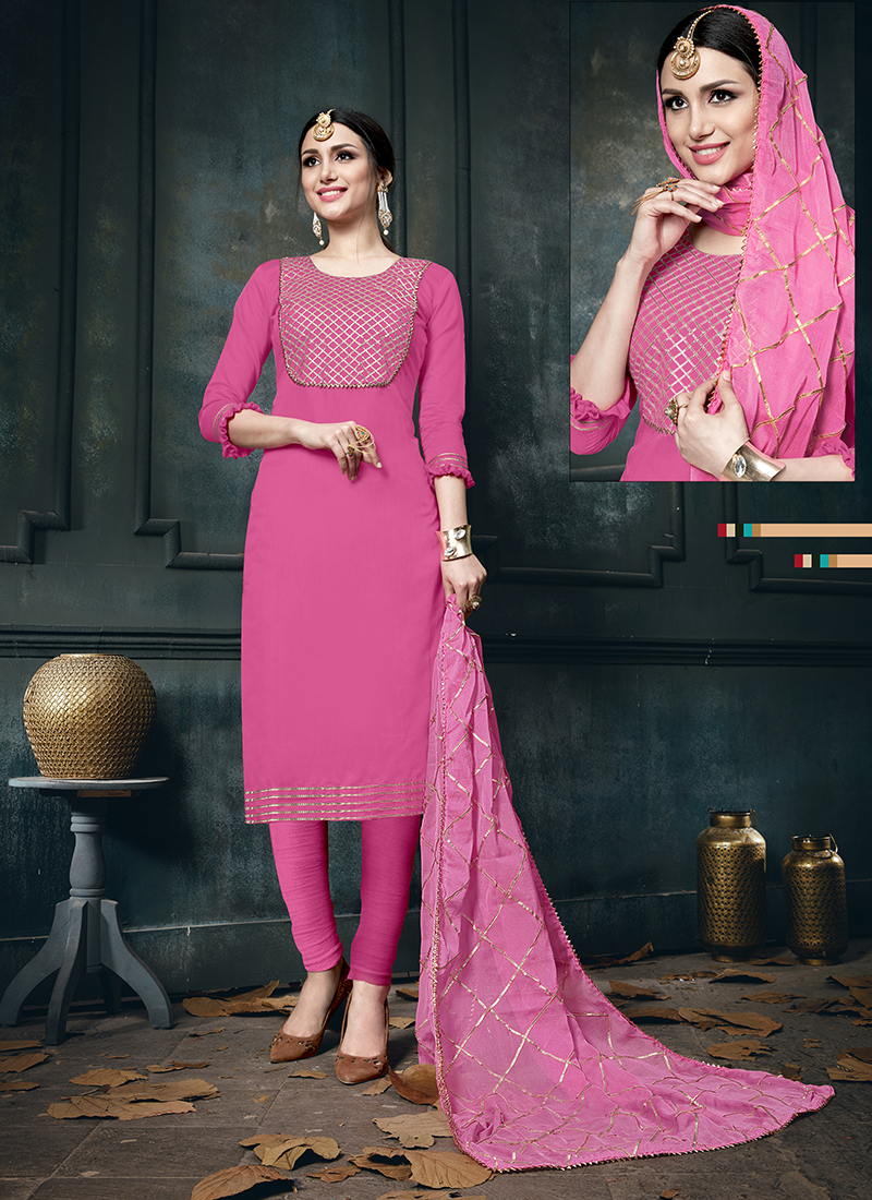 Hot Pink Cotton Designer Straight Suit