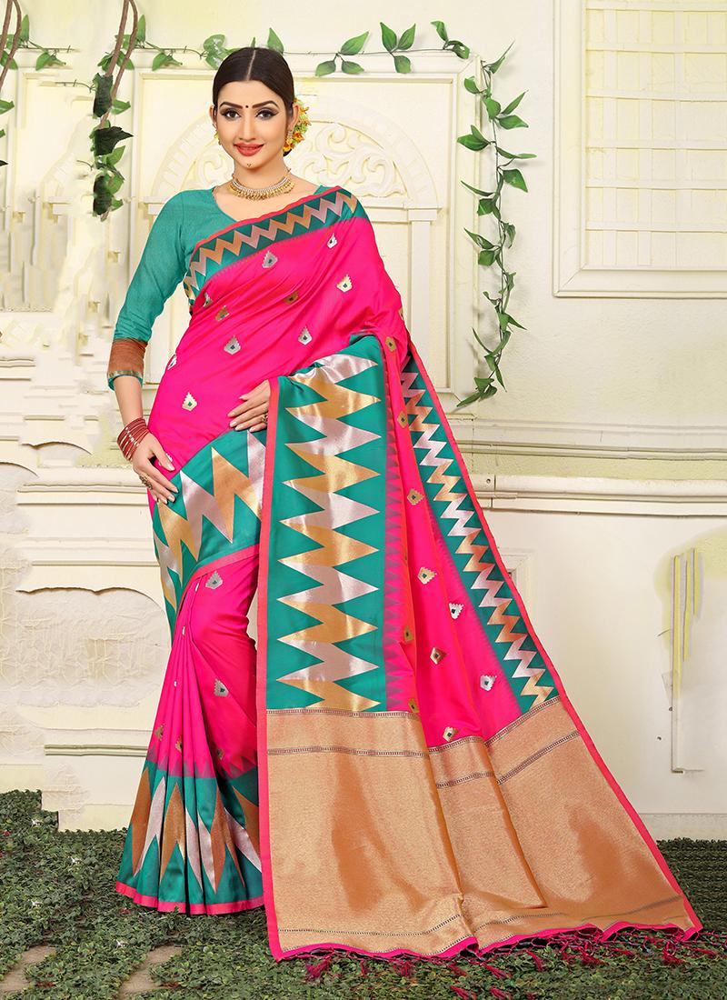 Hot Pink Jacquard Silk Wedding Traditional Designer Saree