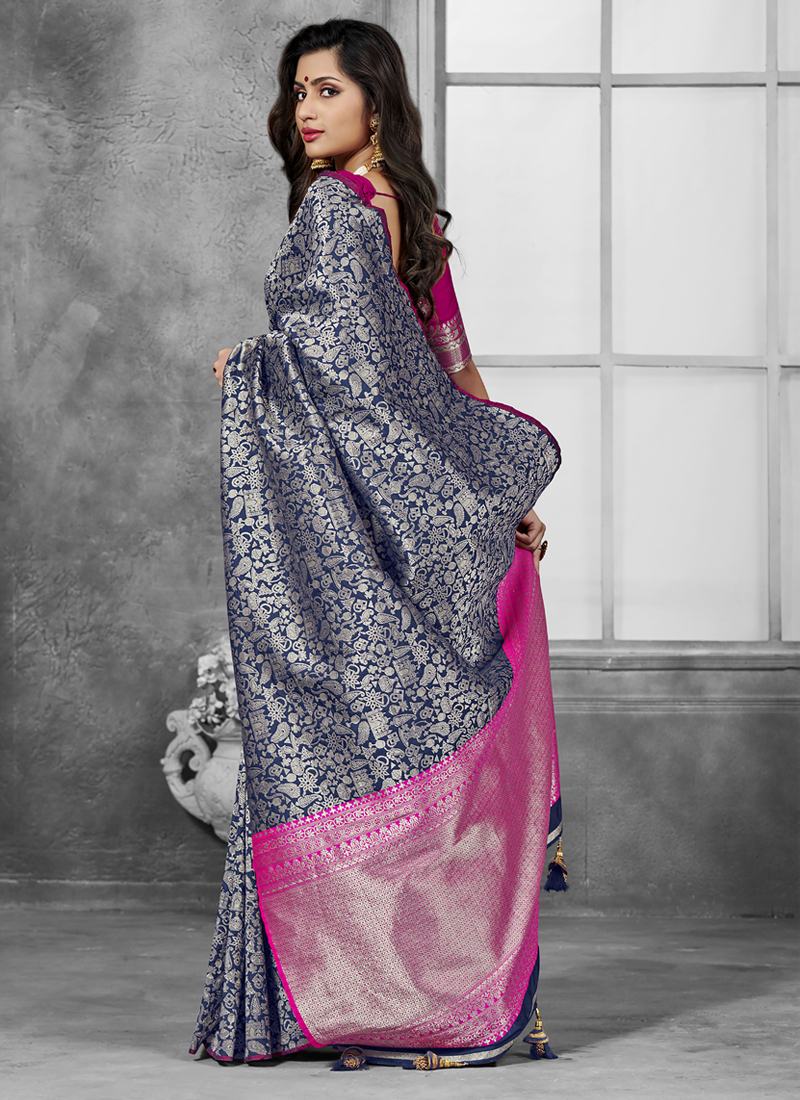 Hypnotic Grey Art Silk Designer Traditional Saree