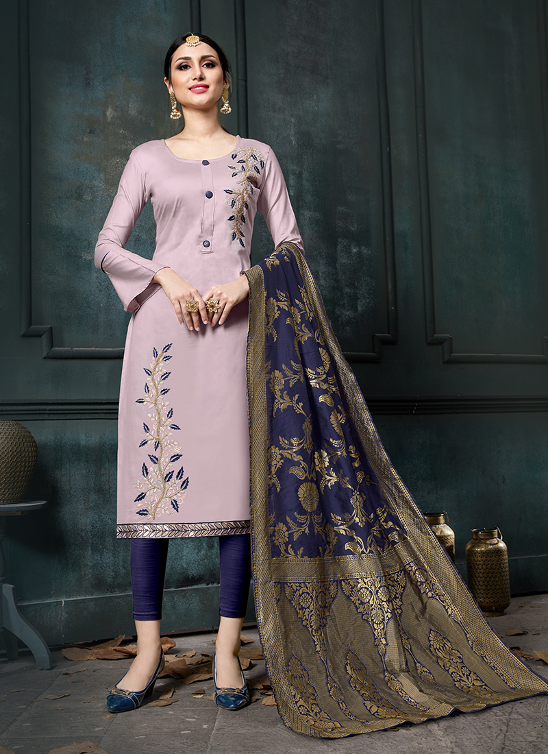 Hypnotizing Lavender Cotton Designer Straight Suit