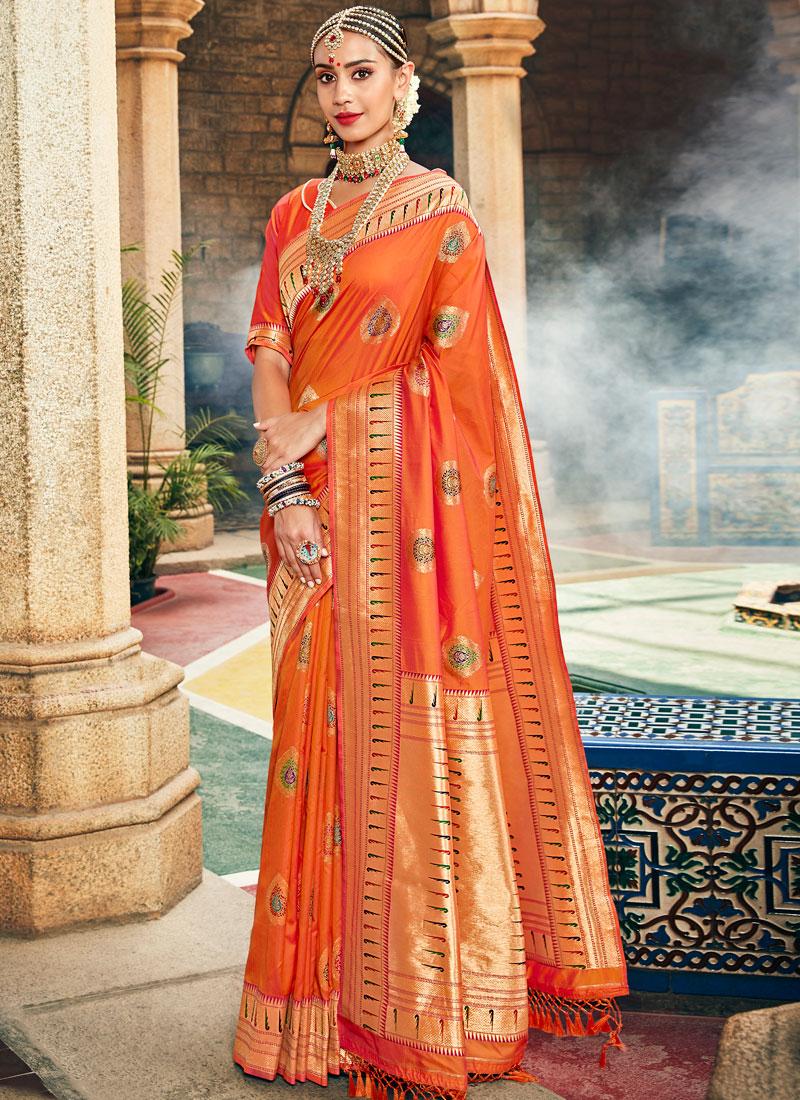 Hypnotizing Orange Art Silk Designer Saree
