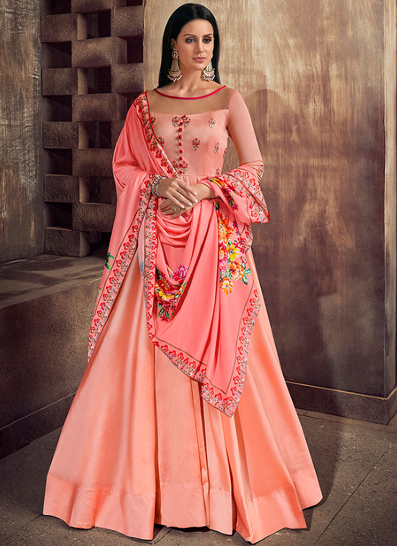Immaculate Pink Embroidered Tafeta Silk Readymade Anarkali Suit