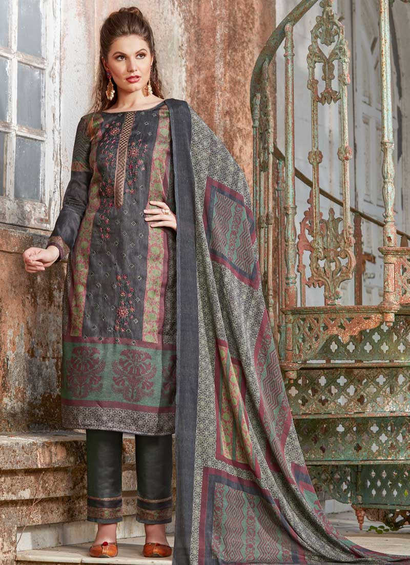 27d4c67eb5 Impeccable Embroidered Tussar Silk Pant Style Suit. Hover to zoom