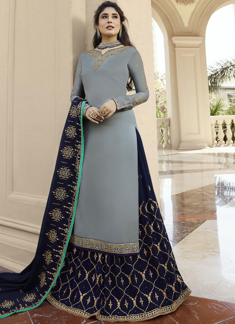 Impeccable Grey Georgette Satin Designer drashti dhami  Lehenga Choli