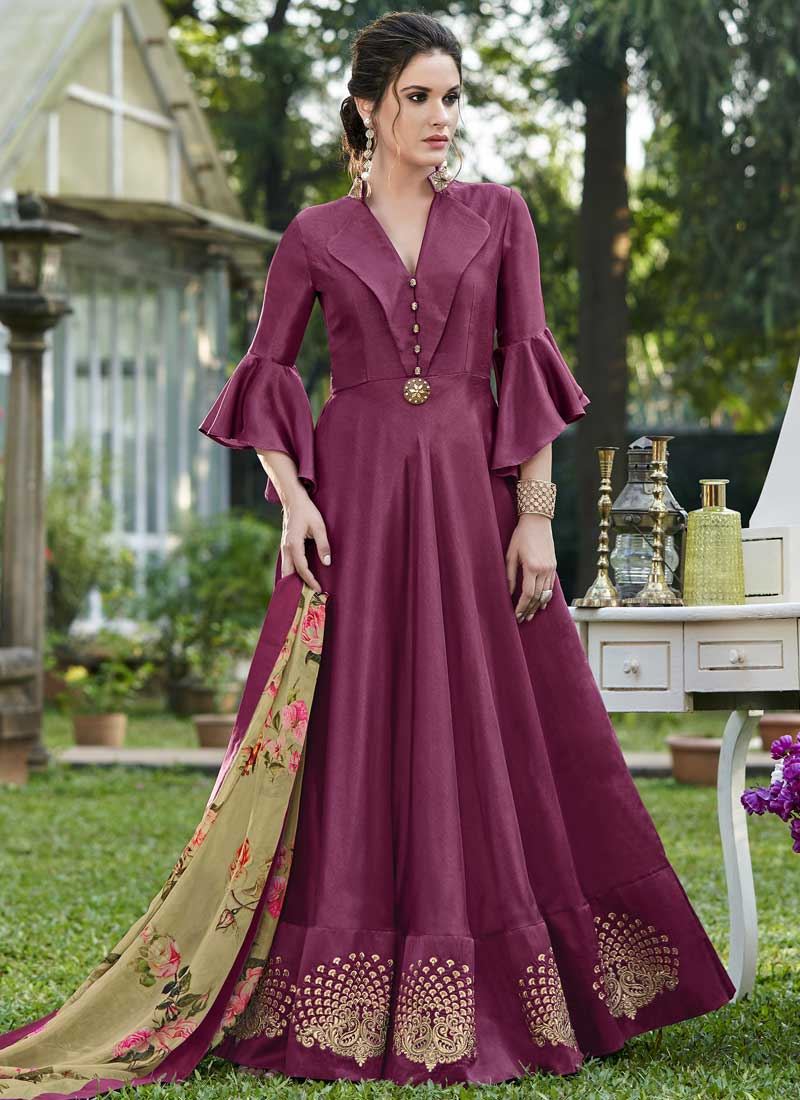 Impeccable Magenta Embroidered Designer Gown