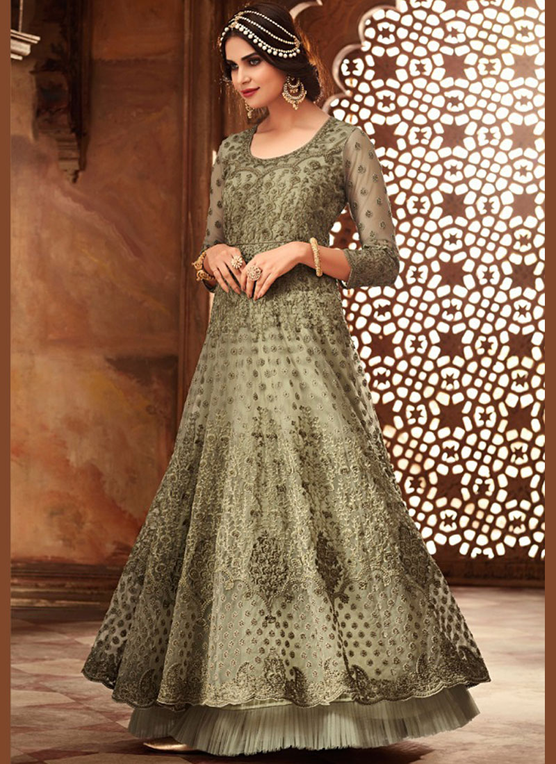 Imperial Embroidered Net Green Floor Length Anarkali Suit
