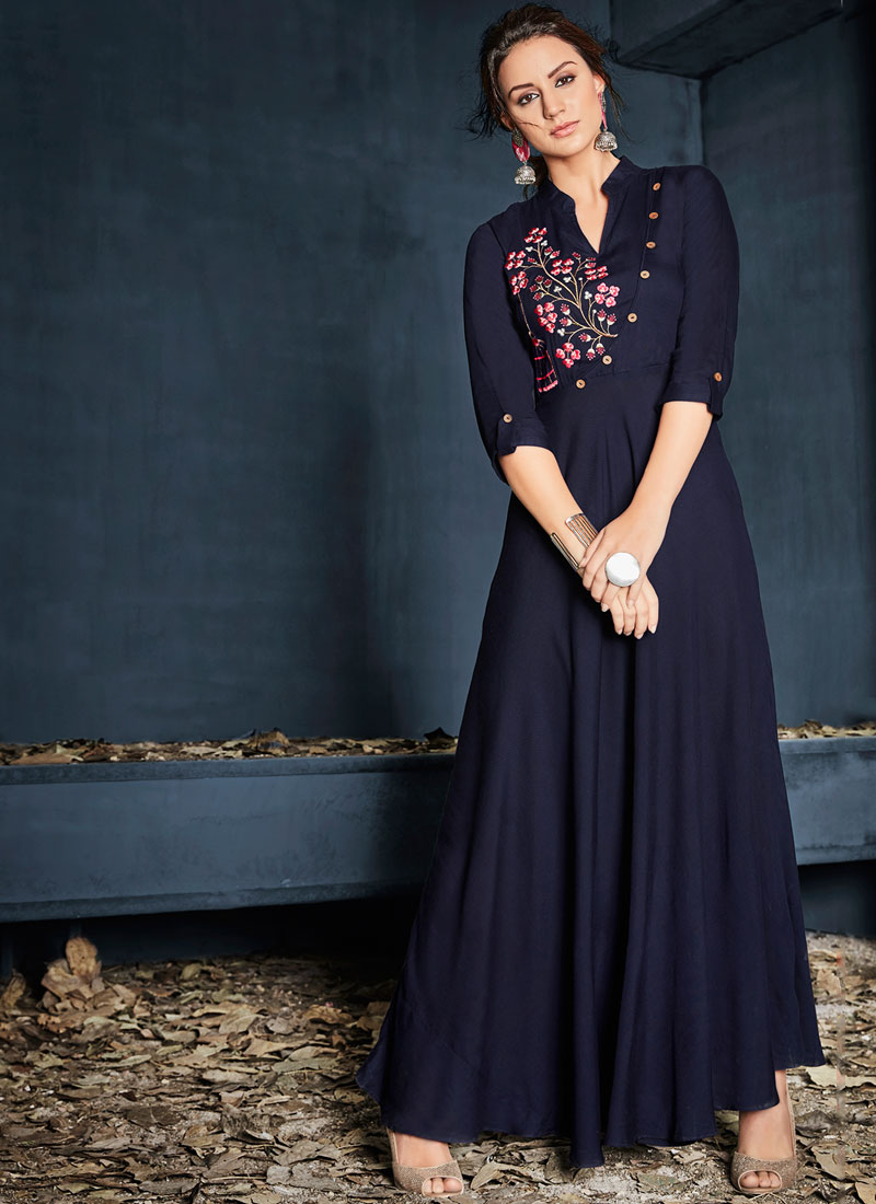 Imperial Navy Blue Rayon Casual Kurti