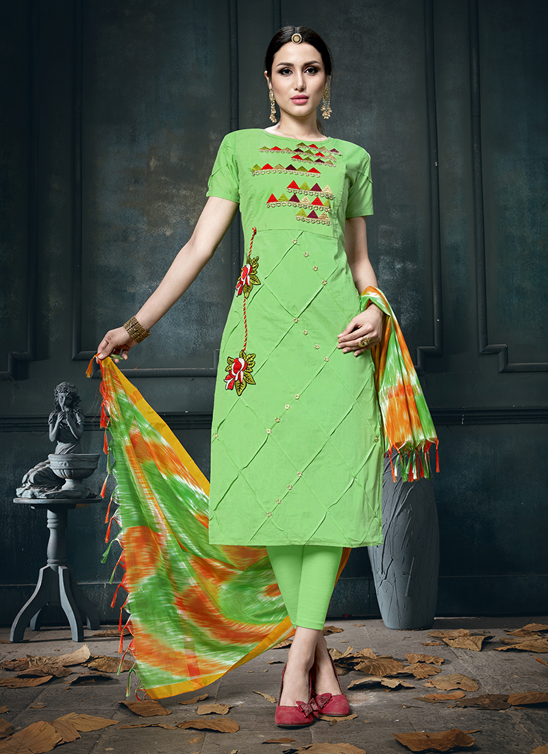 a9c6d1f2b5 Imposing Embroidered Green Cotton Designer Straight Suit. Hover to zoom