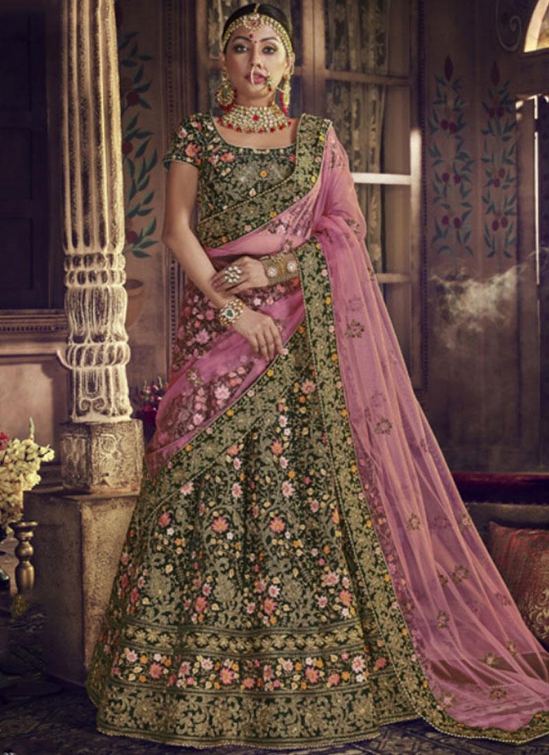 Imposing Green Resham Lehenga Choli