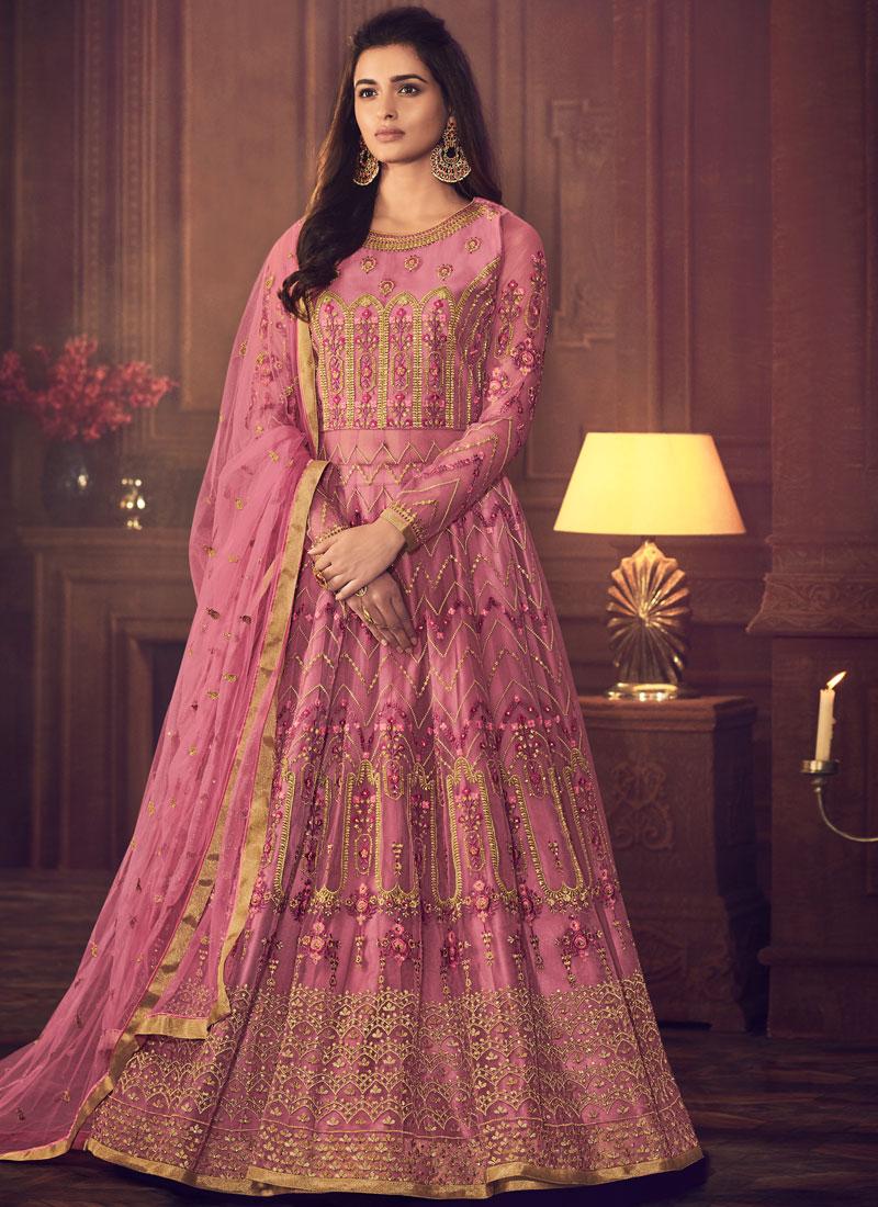 Imposing Net Resham Pink Floor Length Anarkali Suit