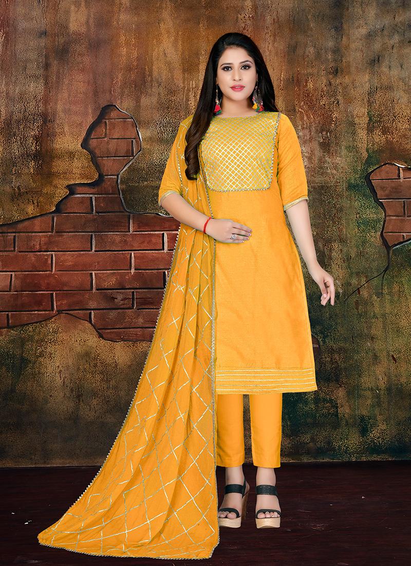 Impressive Mustard Faux Chiffon Designer Salwar Kameez