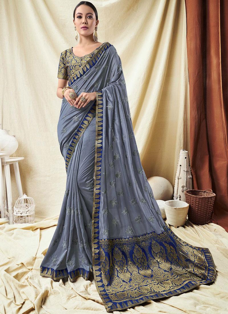 Incredible Silk Designer Saree in grey