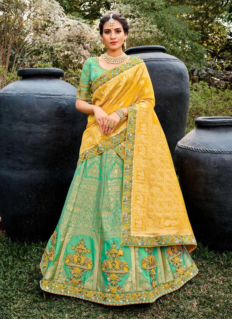 Indian Festival Hand Work Silk Lehenga Choli In Green