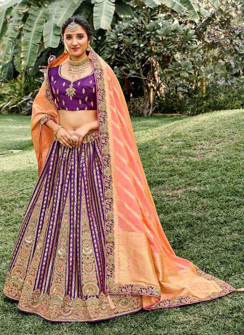 Indian Hand Work Wedding Lehenga Choli In Purple